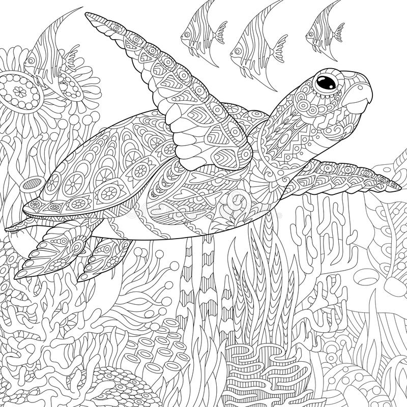 Zentangle gestileerde schildpadvissen stock illustratie