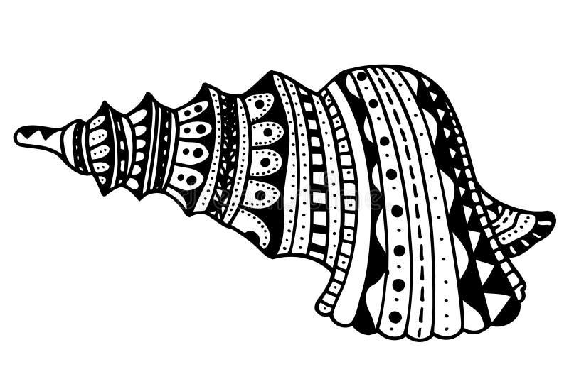 Zentangle gestileerde shell stock illustratie