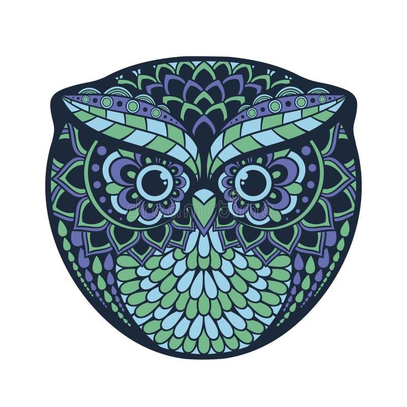Zentangle gestileerde Uil De hand trekt gevormde dierlijke illustratie royalty-vrije stock afbeeldingen
