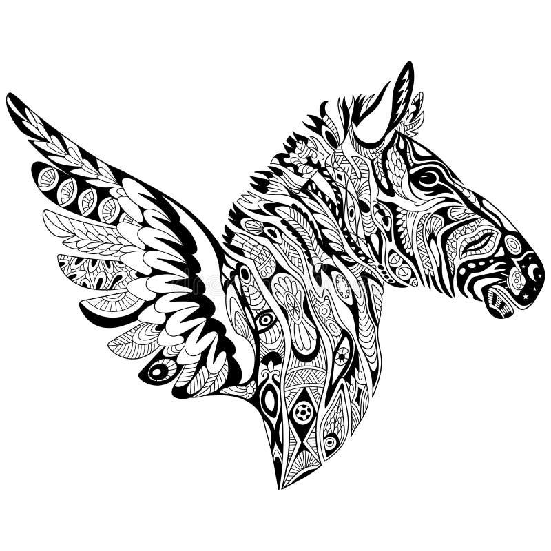 Zentangle gestileerde zebra met vleugels vector illustratie