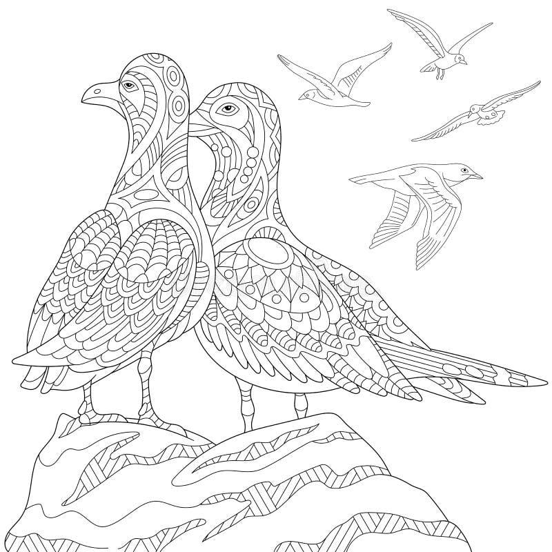 Zentangle gestileerde zeemeeuwen royalty-vrije illustratie