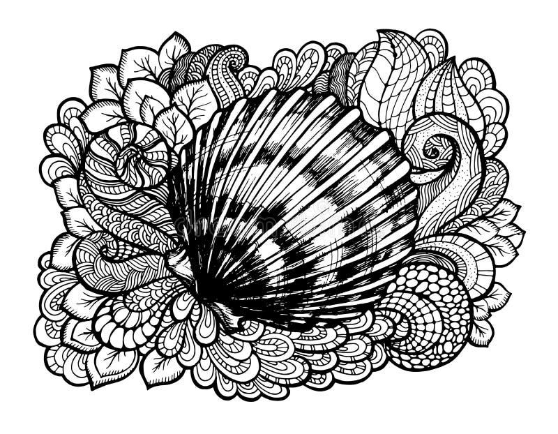 Zentangle gestileerde zeeschelp met krabbelwervelingen en bladeren Hand Getrokken aquatische vectorillustratie Schets voor tatoeg vector illustratie