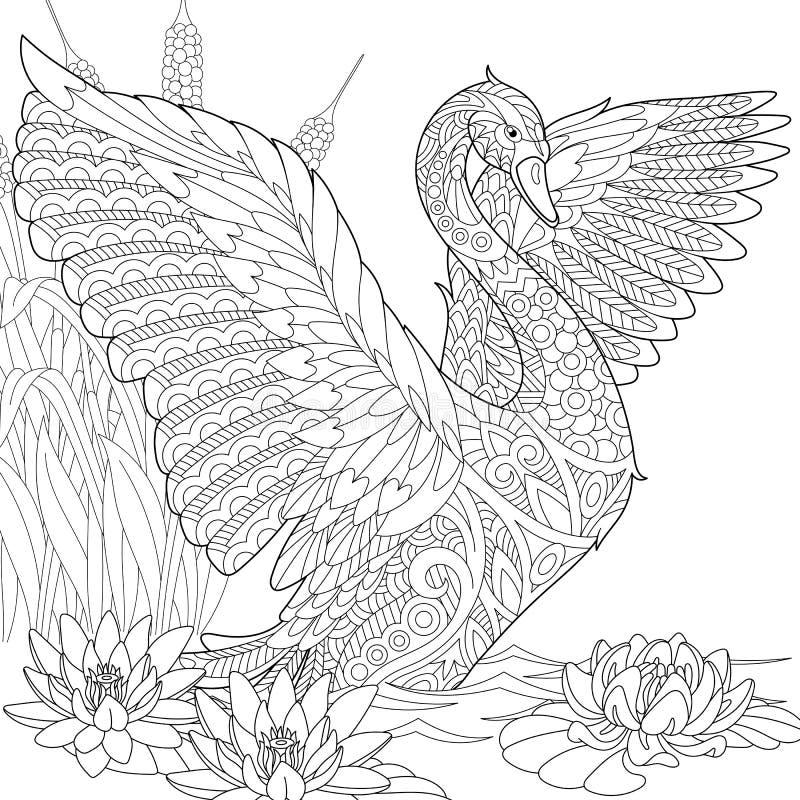 Zentangle gestileerde zwaan stock illustratie