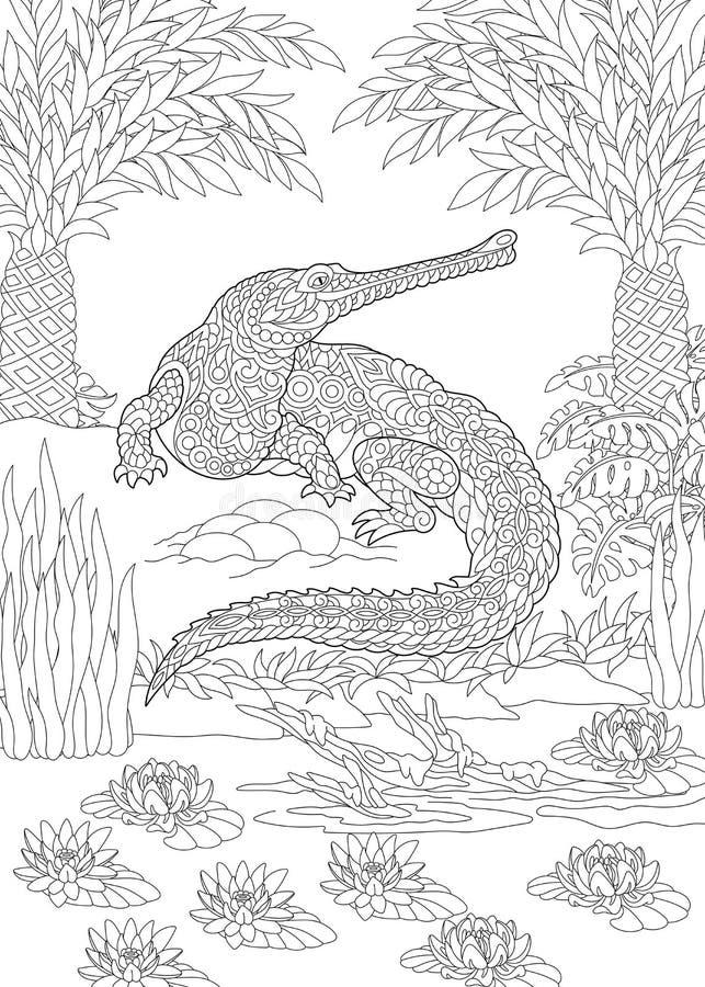 Zentangle gharial鳄鱼 库存例证