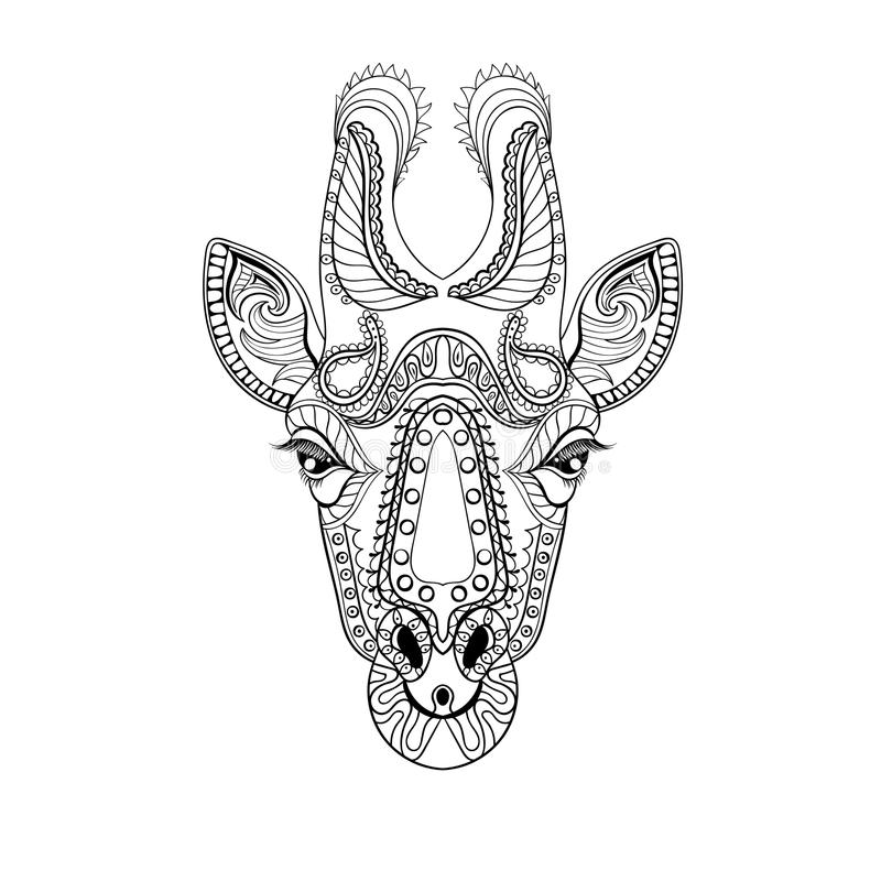 Zentangle Giraffe head totem for adult anti stress Coloring Page. For art therapy, illustration in doodle style. Vector monochrome sketch with high details on vector illustration
