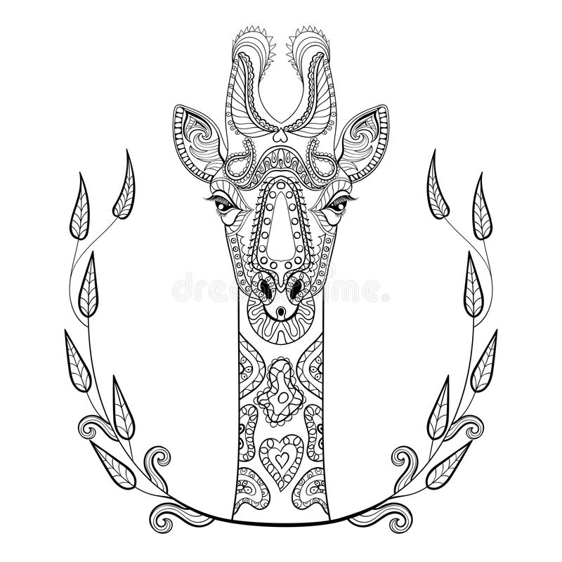Zentangle Giraffe head totem in frame for adult anti stress. Coloring Page for art therapy, illustration in doodle style. Vector monochrome sketch with high royalty free illustration