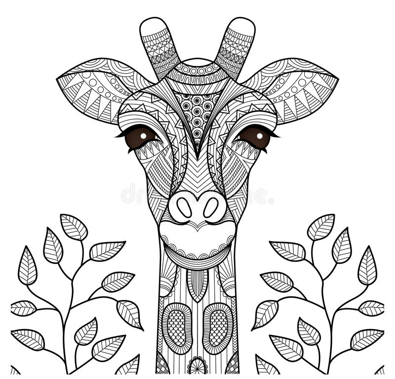 Zentangle giraffhuvud stock illustrationer