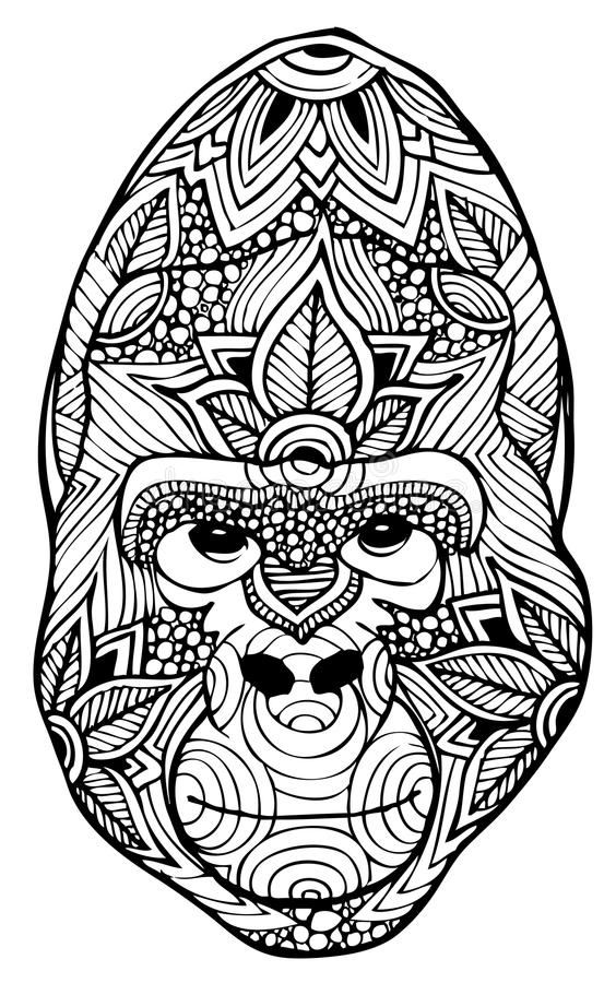 Zentangle gorillavektor stock illustrationer