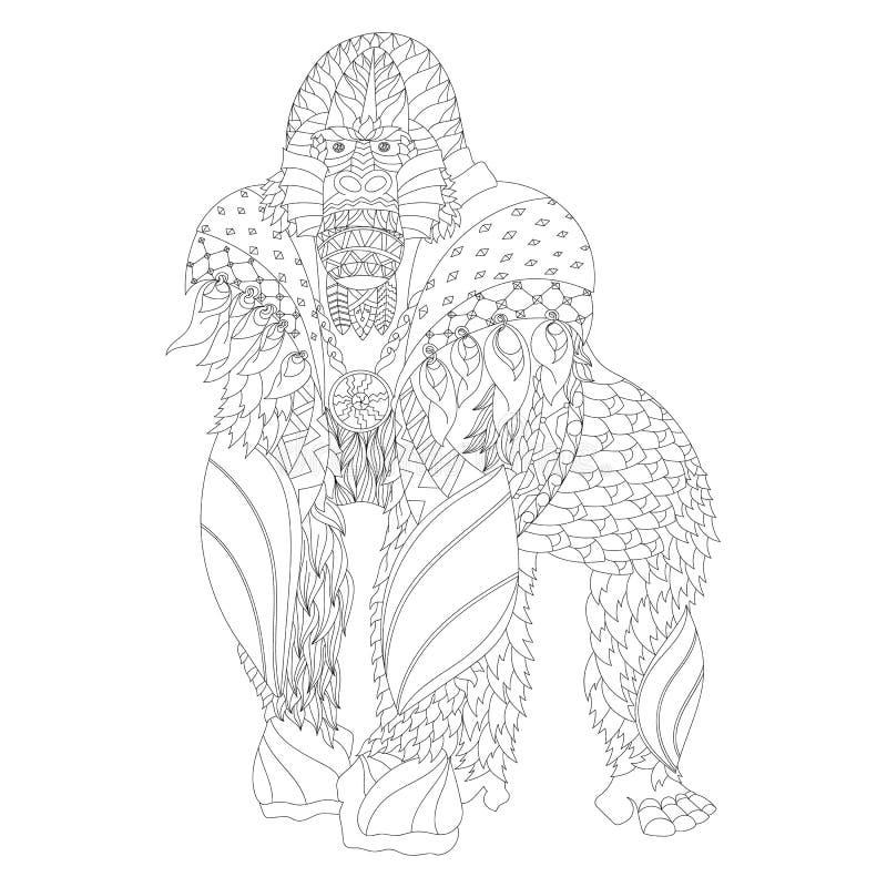 Zentangle ha modellato la condizione della gorilla immagine stock libera da diritti