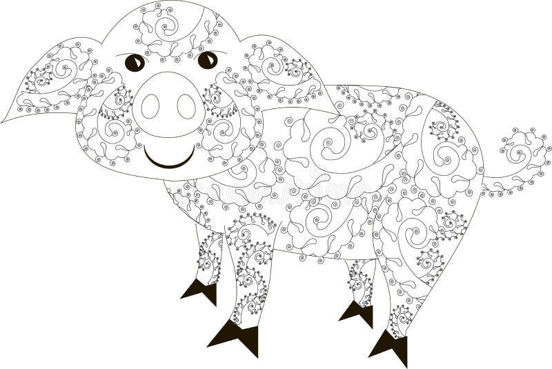 Zentangle ha stilizzato disegnato a mano in bianco e nero del maiale royalty illustrazione gratis