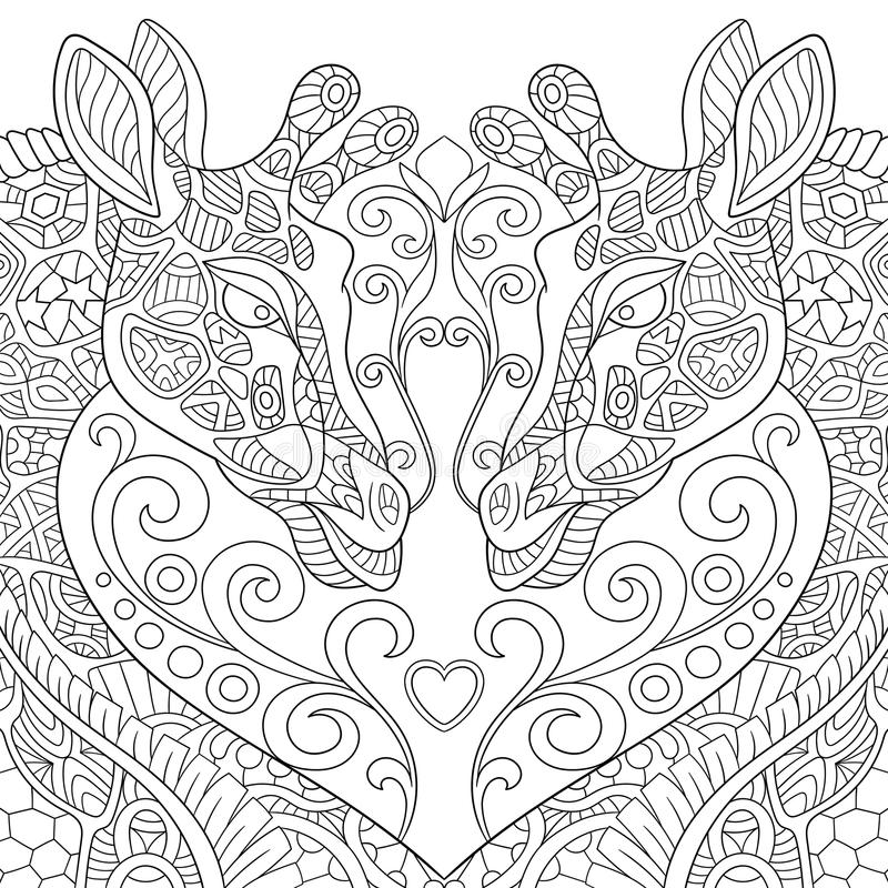 Zentangle ha stilizzato due giraffe adorabili con un cuore illustrazione vettoriale