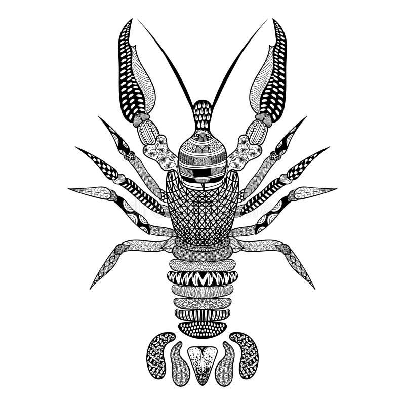 Zentangle ha stilizzato i gamberi neri Gambero disegnato a mano royalty illustrazione gratis