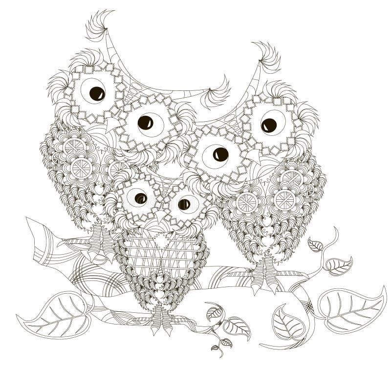 Zentangle ha stilizzato i tre gufi in bianco e nero che si siedono sui rami di albero, disegnati a mano illustrazione di stock