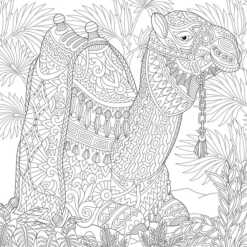 Zentangle ha stilizzato il cammello royalty illustrazione gratis