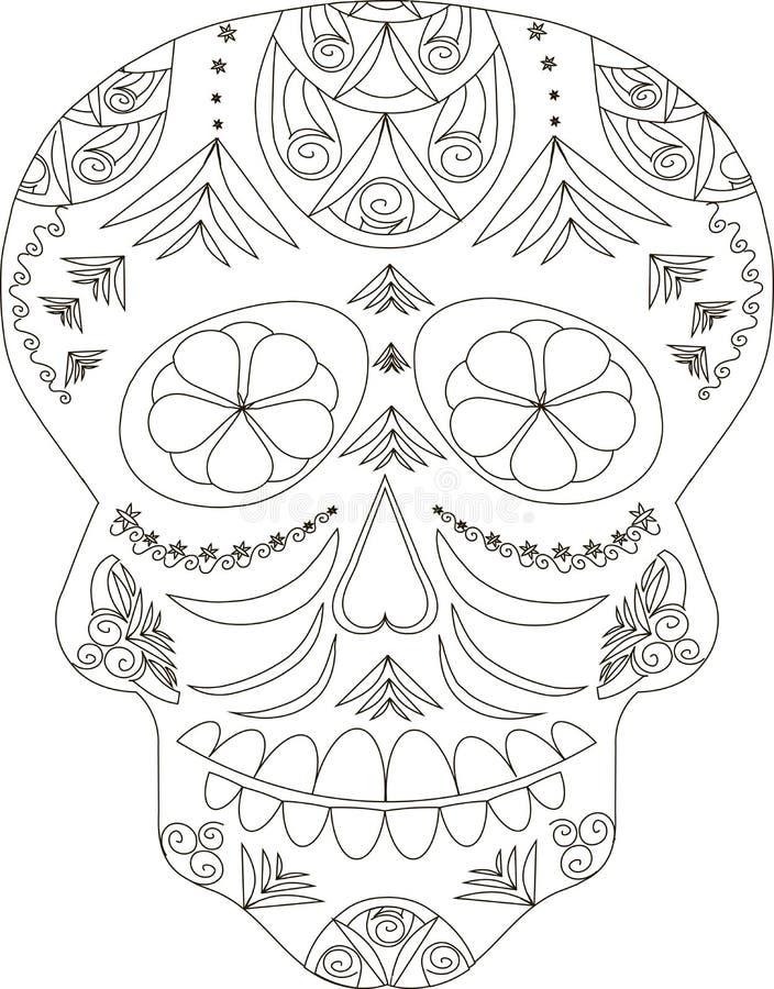 Zentangle ha stilizzato il cranio in bianco e nero dello zucchero, disegnato a mano, vettore royalty illustrazione gratis
