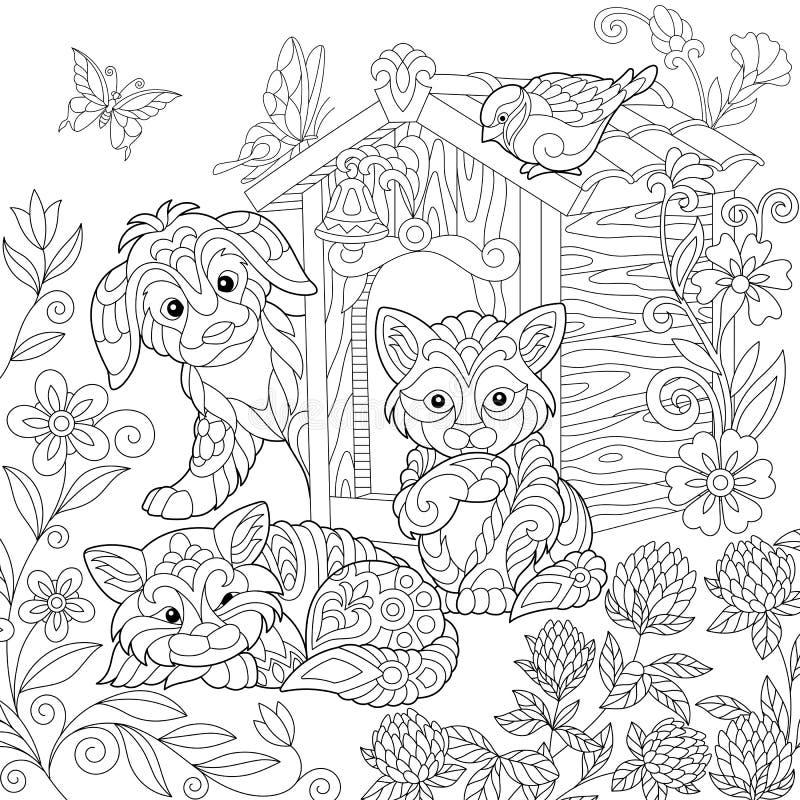 Zentangle ha stilizzato il cucciolo ed i gatti royalty illustrazione gratis