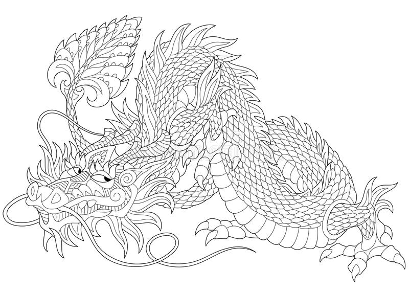 Zentangle ha stilizzato il drago royalty illustrazione gratis