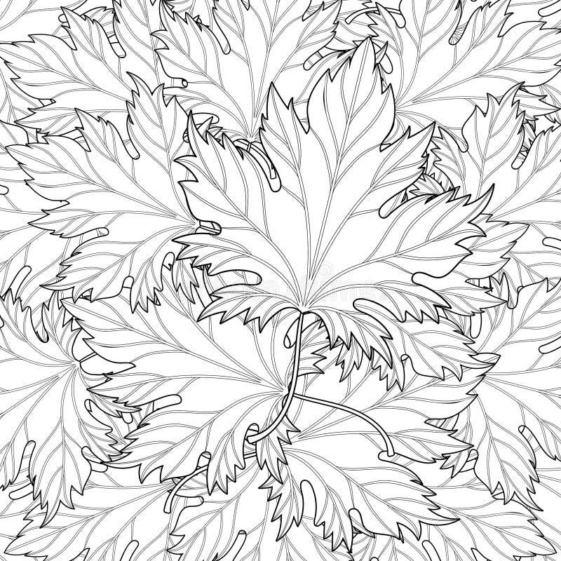 Zentangle ha stilizzato il fondo delle foglie di caduta di autunno per Halloween, illustrazione di stock