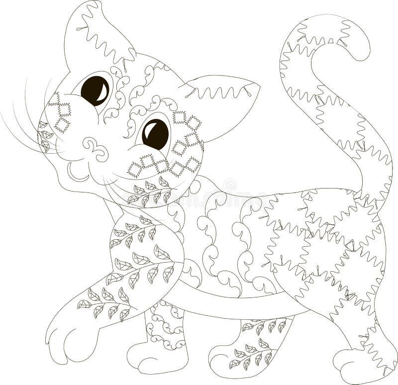 Zentangle ha stilizzato il gatto, in bianco e nero, disegnato a mano royalty illustrazione gratis