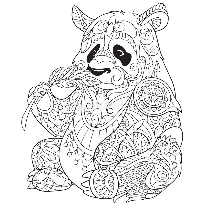 Zentangle ha stilizzato il panda illustrazione di stock