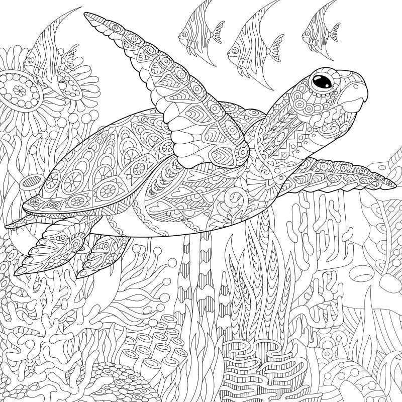 Zentangle ha stilizzato il pesce della tartaruga illustrazione di stock