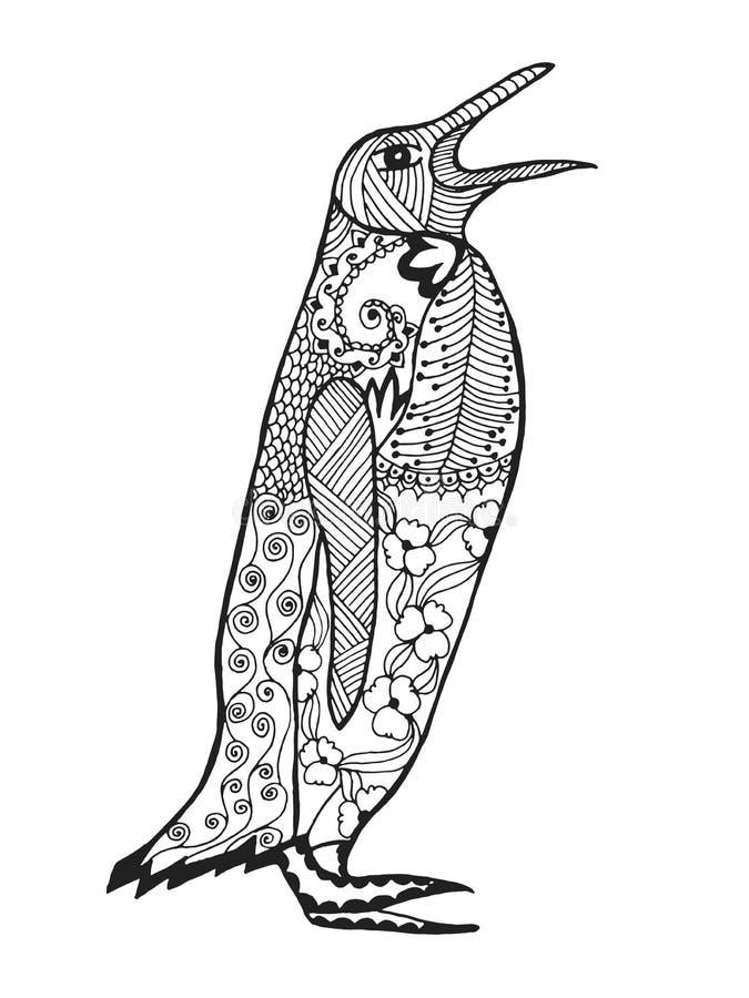 Zentangle ha stilizzato il pinguino Schizzo per il tatuaggio o la maglietta illustrazione di stock