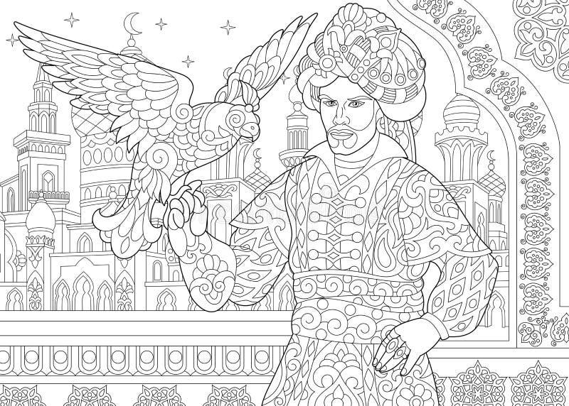 Zentangle ha stilizzato il sultano dell'ottomano con il falco illustrazione di stock