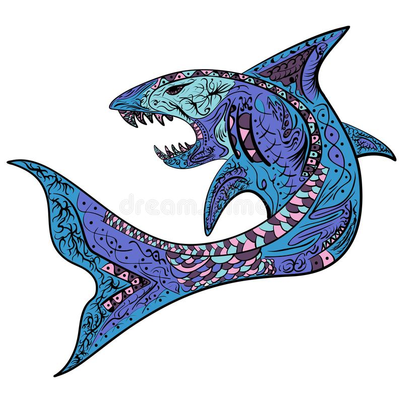 Zentangle ha stilizzato il vettore variopinto dello squalo illustrazione vettoriale