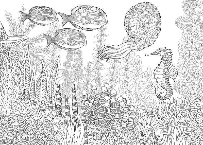 Zentangle ha stilizzato l'acquario illustrazione vettoriale