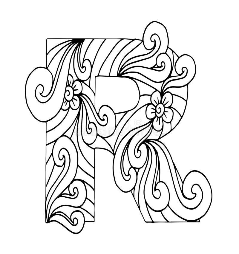 Zentangle ha stilizzato l'alfabeto Lettera R nello stile di scarabocchio illustrazione vettoriale