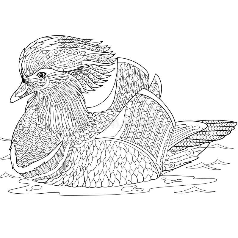 Zentangle ha stilizzato l'anatra di mandarino royalty illustrazione gratis