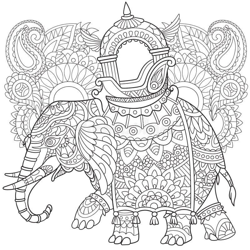 Zentangle ha stilizzato l'elefante illustrazione di stock
