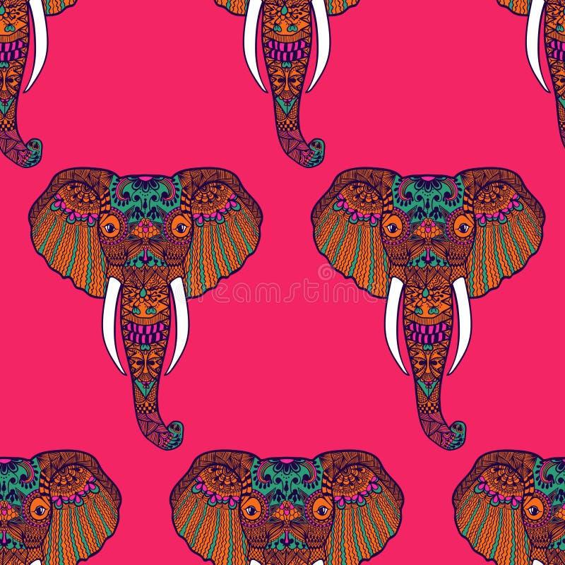 Zentangle ha stilizzato l'elefante indiano Disegnato a mano illustrazione vettoriale