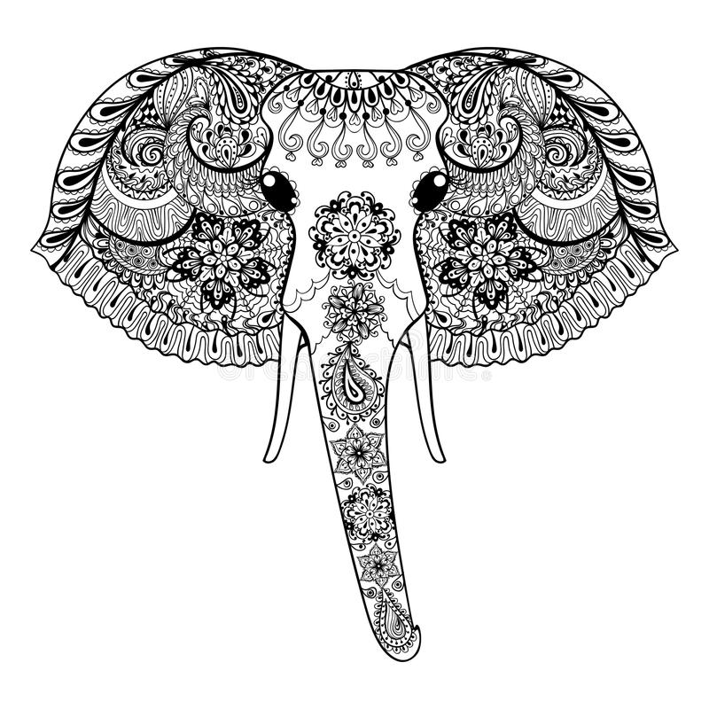 Zentangle ha stilizzato l'elefante indiano Vettore disegnato a mano IL di Paisley illustrazione vettoriale