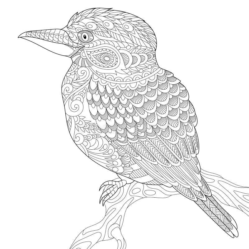 Zentangle ha stilizzato l'uccello di kookaburra illustrazione di stock