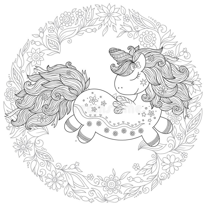 Zentangle ha stilizzato l'unicorno del fumetto isolato su fondo bianco  illustrazione di stock
