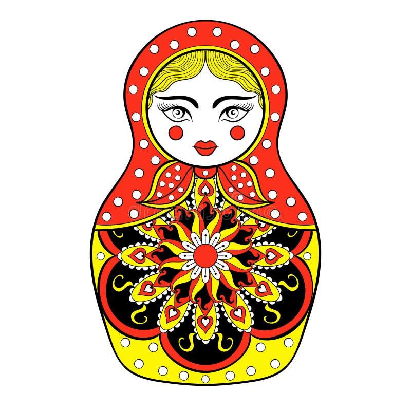 Zentangle ha stilizzato la bambola russa elegante, bambola di Matryoshka illustrazione di stock