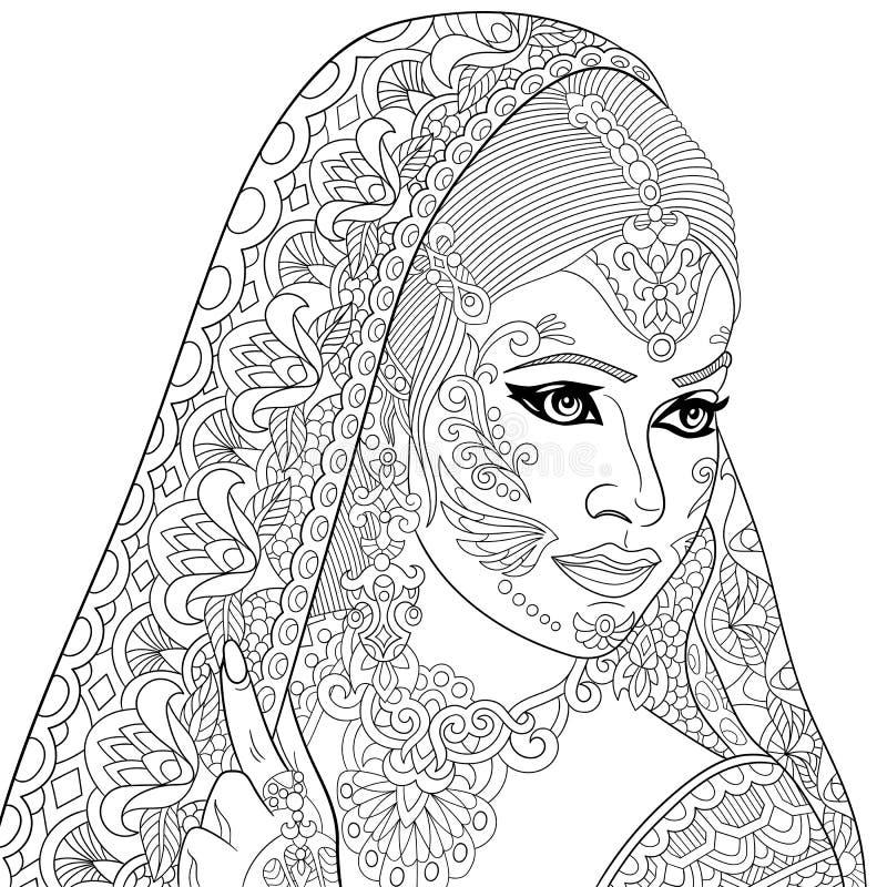 Zentangle ha stilizzato la donna indiana royalty illustrazione gratis