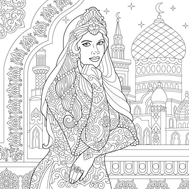 Zentangle ha stilizzato la donna turca royalty illustrazione gratis
