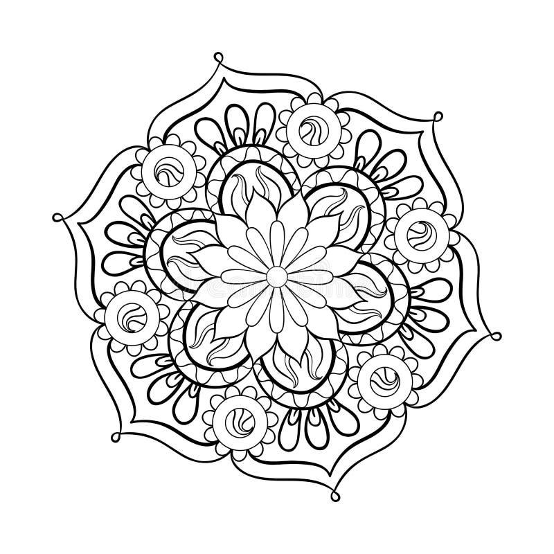 Zentangle ha stilizzato la mandala nera elegante per la pagina di coloritura royalty illustrazione gratis