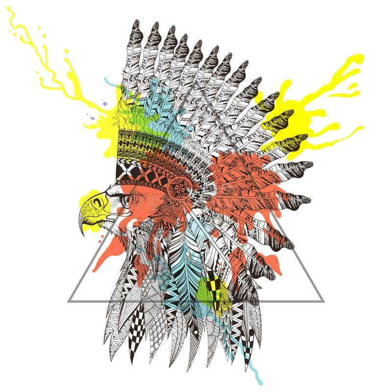 Zentangle ha stilizzato la testa dell'aquila nel cofano messo le piume a di guerra in tri royalty illustrazione gratis
