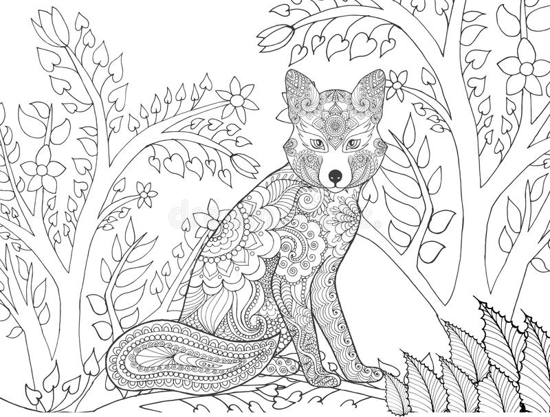 Zentangle ha stilizzato la volpe nella foresta di fantasia illustrazione di stock