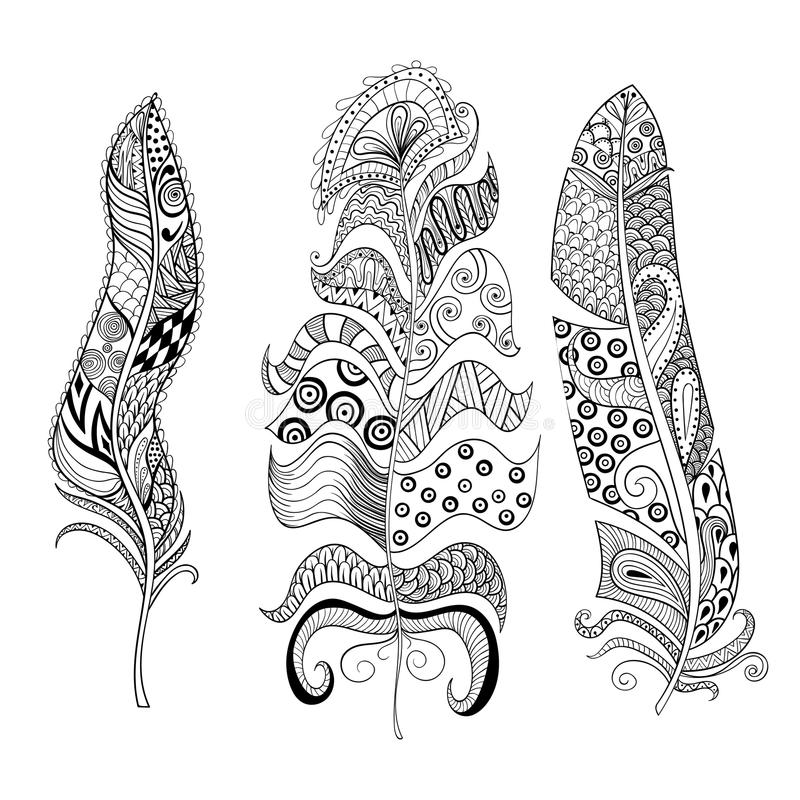 Zentangle ha stilizzato le piume eleganti messe Annata disegnata a mano illustrazione vettoriale
