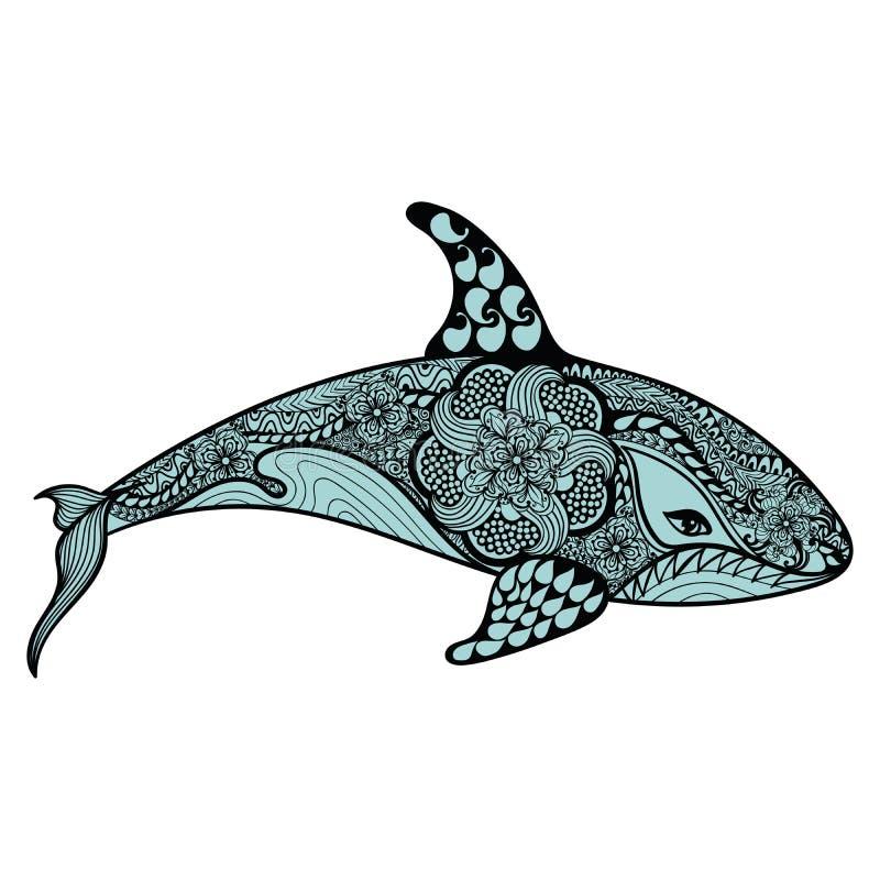 Zentangle ha stilizzato lo squalo blu del mare Illustratio disegnato a mano di vettore illustrazione vettoriale