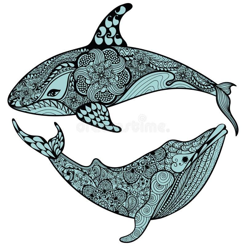 Zentangle ha stilizzato lo squalo e la balena blu del mare Vettore disegnato a mano I illustrazione di stock