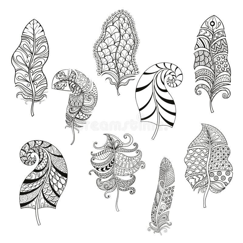 Zentangle ha stilizzato nove piume per la pagina di coloritura illustrazione vettoriale