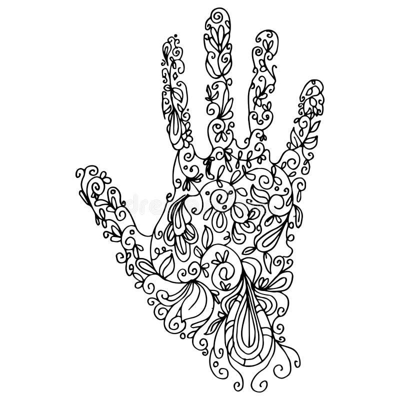 Zentangle handöversikt royaltyfri illustrationer