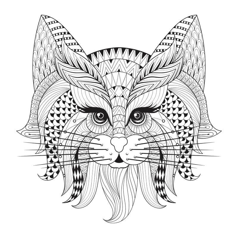 Zentangle hand dragen kattframsida för vuxen antistress färgläggningsida royaltyfri illustrationer