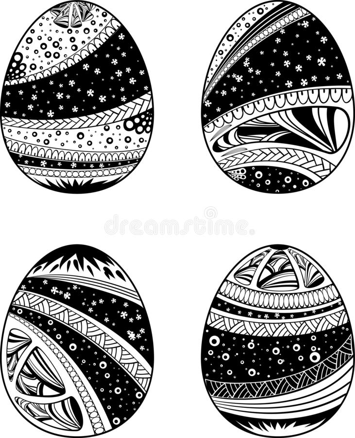 Zentangle hand drawn eggs set for anti stress coloring book pages and other decorations. Hand drawn doodle design elements. Clipart Isolated on white vector illustration