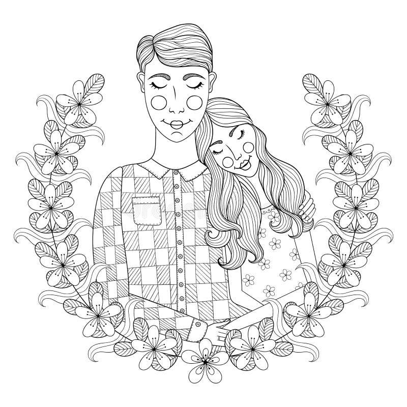Zentangle hand drog älskvärda par för vuxen antistress färgläggning stock illustrationer